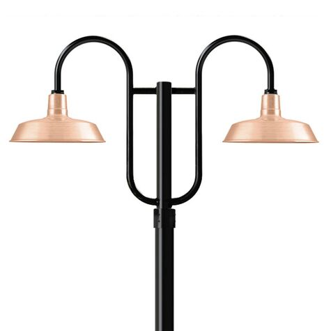 """14"""" Sky Chief, 995-Raw Copper, Double Decorative Post Mount, 100-Black, Smooth Direct Burial Pole, 100-Black"""