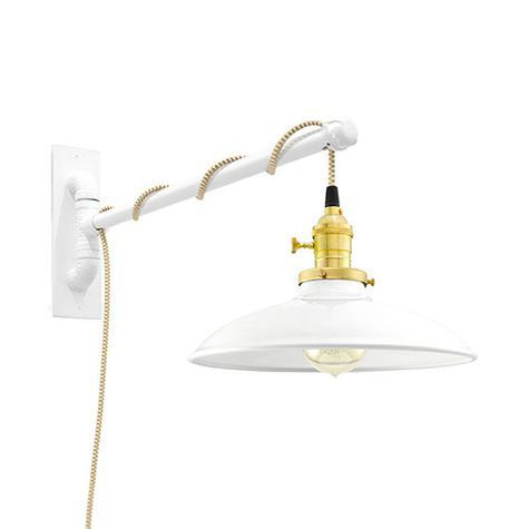 Skylark Swing Arm Sconce, 200-White, Brass Socket with Knob Switch, Arm in 200-White, CSGW-Gold & White Cloth Cord, Nostalgic Edison-Style 40W Victorian Bulb