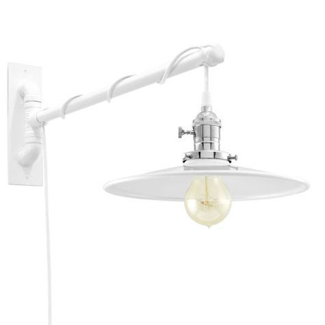 Circle B Circle Arm Sconce, 200-White, Nickel Socket with Knob Switch, Arm in 200-White, SWH-Standard White Cord, Nostalgic Edison-Style 40W Victorian Bulb