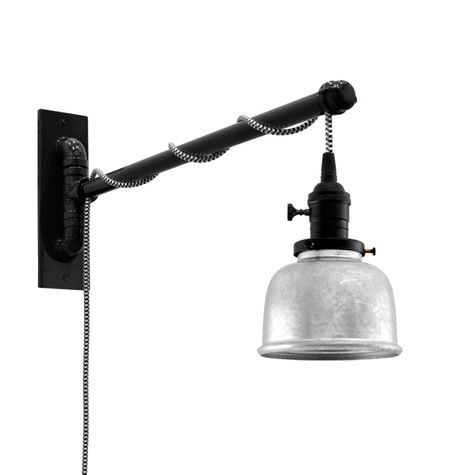 Fargo Swing Arm Sconce, 975-Galvanized, Black Socket with Knob Switch, Arm in 100-Black, CSBW-Black & White Cloth Cord