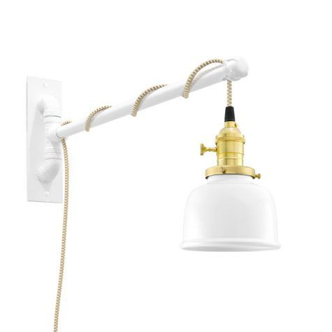 Fargo Swing Arm Sconce, 200-White, Brass Socket with Knob Switch, Arm in 200-White, CSGW-Gold & White Cloth Cord
