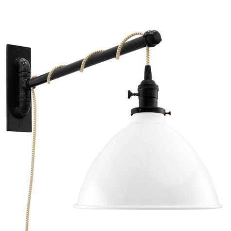 "10"" Getty Swing Arm Sconce, 200-White, Black Socket with Knob Switch, Arm in 100-Black, CSGW-Gold & White Cloth Cord"