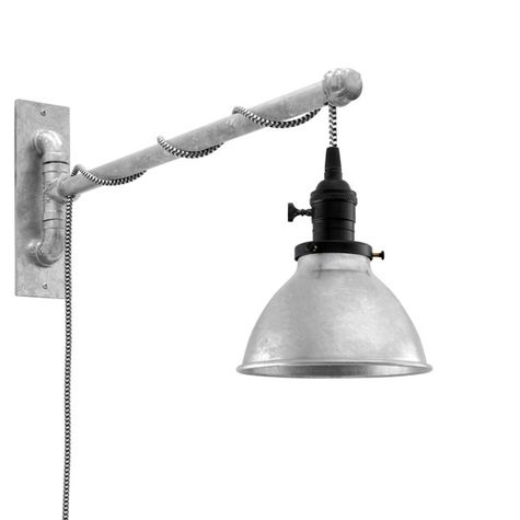 "6"" Getty Swing Arm Sconce, 975-Galvanized, Black Socket with Knob Switch, Arm in 975-Galvanized, CSBW-Black & White Cloth Cord"