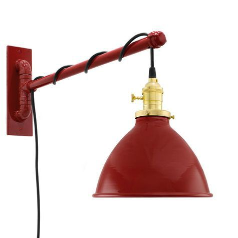 "8"" Getty Swing Arm Sconce, 400-Barn Red, Brass Socket with Knob Switch, Arm in 400-Barn Red, SBK-Standard Black Cord"