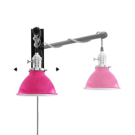 "6"" Getty Swing Arm Sconce, 490-Magenta, Nickel Socket with Knob Switch, Arm in 100-Black, CSBW-Black & White Cloth Cord"