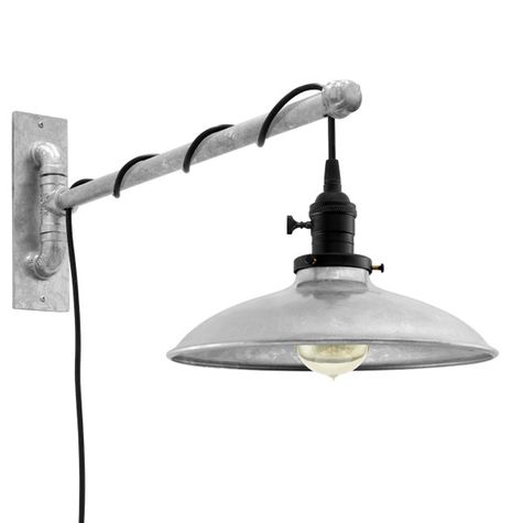 Skylark Swing Arm Sconce, 975-Galvanized, Black Socket with Knob Switch, Arm in 975-Galvanized, SBK-Standard Black Cord, Nostalgic Edison-Style 40W Victorian Bulb