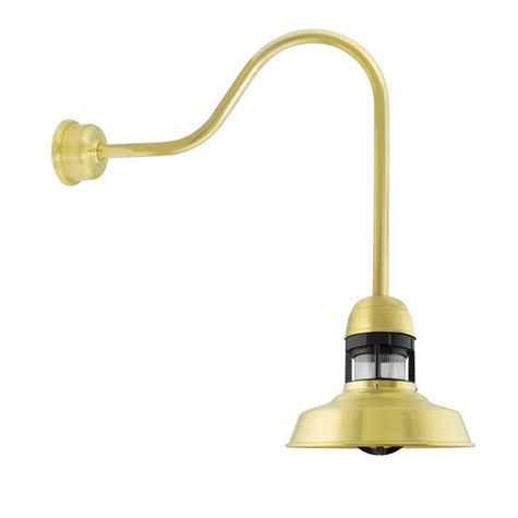 "12"" Sydney LED, 997-Raw Brass with 100-Black Guard, With Cap, RIB-Ribbed Glass, G24 Gooseneck Arm, Decorative Backing Plate Cover"