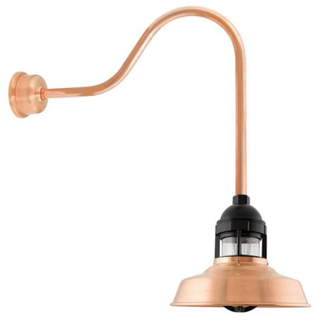 "12"" Sydney, 995-Raw Copper with 10-Black Guard, No Cap, RIB-Ribbed Glass, G24 Gooseneck Arm, Decorative Backing Plate Cover"