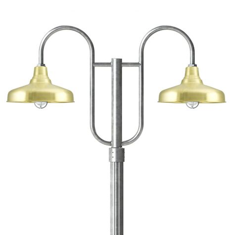 """14"""" Union, 997-Raw Brass, Standard Cast Guard & Ribbed Glass, 975-Galvanized, Double Decorative Post Mount, 975-Galvanized, Fluted Direct Burial Pole, 975-Galvanized"""