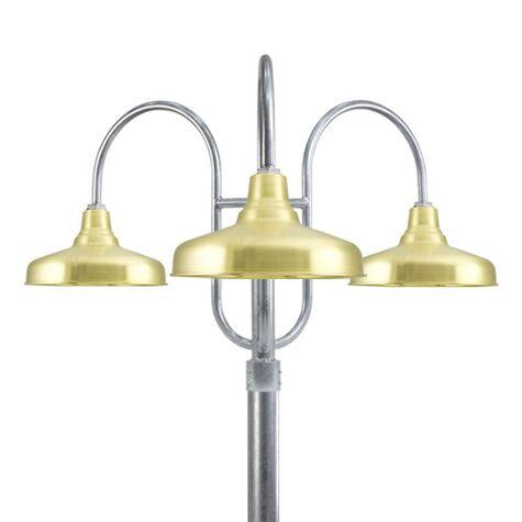 "16"" Union, 997-Raw Brass, 3-Light Post Mount, 975-Galvanized, Smooth Direct Burial Pole, 975-Galvanized"