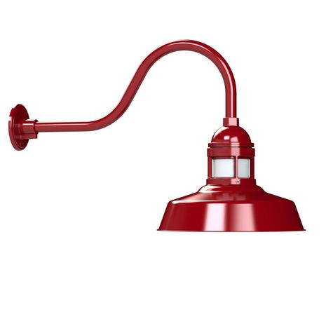 "12"" Sydney LED, 400-Barn Red, No Cap, FST-Frosted Glass, G22 Gooseneck Arm"