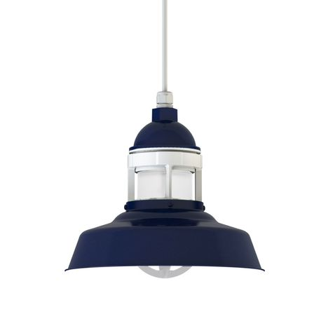 "12"" Sydney LED, 705-Navy with 200-White Guard, No Cap, FST-Frosted Glass, SWH-Standard White Cord"