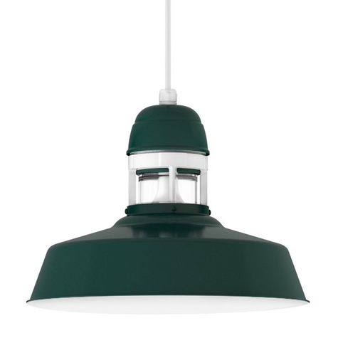 "16"" Sydney Cord Hung Pendant, 300-Dark Green Finish, SWH-Standard White Cord, With Cap, 200-White Guard Finish, CLR-Clear Glass"
