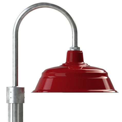 "17"" Bomber Post Mount Light, 455-Cherry Red, Single Post Mount Option in 975-Galvanized, Fluted Direct Burial Pole in 975-Galvanized"