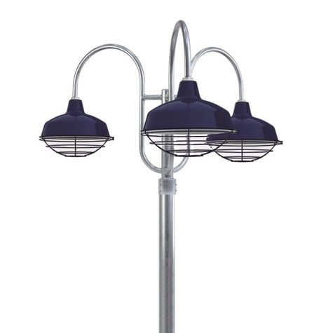 "14"" Avalon, 705-Navy, Wire Cage, Decorative 3 Light Post Mount, 975-Galvanized, Smooth Direct Burial Pole, 975-Galvanized"