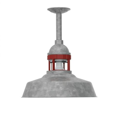 "14"" Sydney Stem Mount Pendant, 975-Galvanized Finish, 6"" Stem in 975-Galvanized, No Cap, 400-Barn Red Guard Finish, CLR-Clear Glass"
