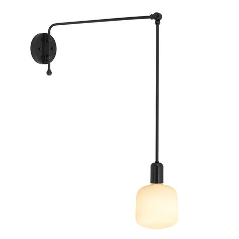 The Downtown Swing Arm Sconce, 100-Black, G69 Arm | Shown with Oblo Tala Lamp