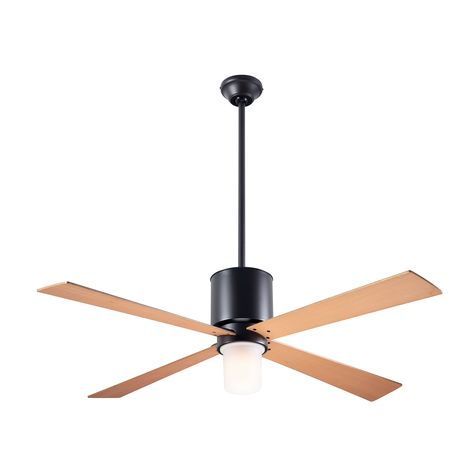 Lapa Ceiling Fan, Dark Bronze, Maple Blades, Light Option