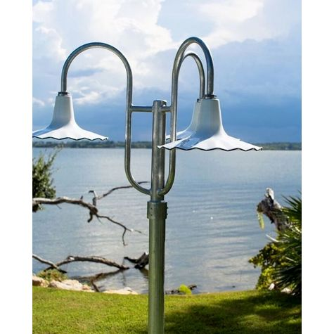 "16"" Seaside, 250-White, 3-Light Post Mount, 975-Galvanized, Smooth Direct Burial Pole, 975-Galvanized"