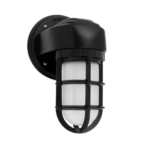 Atomic Topless Streamline Industrial Guard Sconce, 100-Black | TGG-Heavy Duty Cast Guard, FST-Frosted Glass
