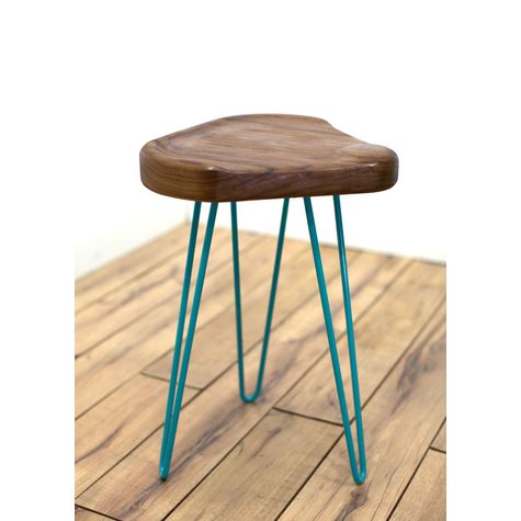 Audrey Stool, NW-Natural Walnut, 390-Teal