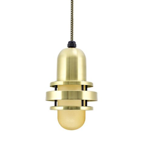 The Brewster Pendant, 997-Raw Brass, HCR-Honey Crackle Glass, CSBG-Gold & Black Cloth Cord