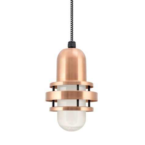 The Brewster Pendant, 995-Raw Copper, FST-Frosted Glass, CSBW-Black & White Cloth Cord