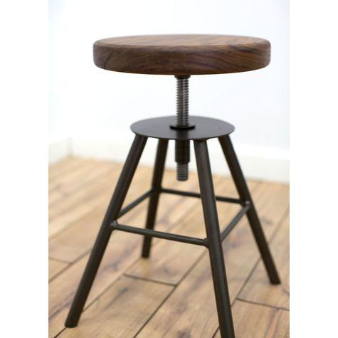 Brooks Adjustable Stool, NW-Natural Walnut, 105-Textured Black
