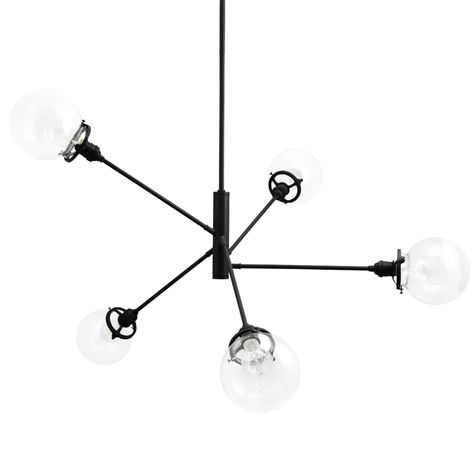 The Bubble 5-Light Chandelier, 100-Black, Clear Globes