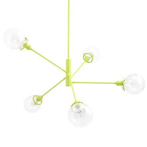 The Bubble 5-Light Chandelier, 380-Chartreuse, Clear Globes