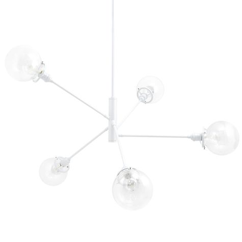 The Bubble 5-Light Chandelier, 200-White, Clear Globes