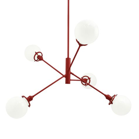 The Bubble 5-Light Chandelier, 400-Barn Red, White Globes