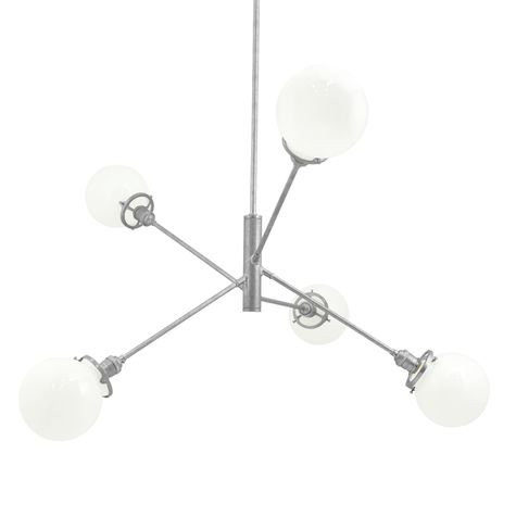 The Bubble 5-Light Chandelier, 975-Galvanized, White Globes