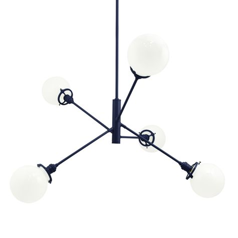 The Bubble 5-Light Chandelier, 705-Navy, White Globes