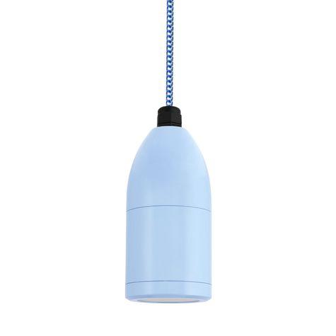 The Bullet Cord Hung LED Pendant, 715-Delphite PTMP, CSUW-Blue & White Cloth Cord