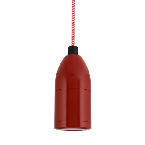 The Bullet Cord Hung LED Pendant, 400-Barn Red, CSRW-Red & White Cloth Cord