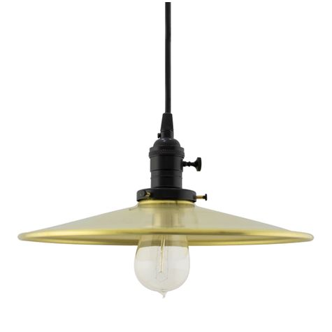 "12"" Circle B Industrial Pendant, 997-Raw Brass, UK-Black Socket with Knob Switch, SBK-Standard Black Cord"