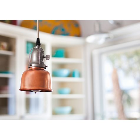 Fargo Pendant, 995-Raw Copper, Cup in 975-Galvanized, With Arms, Paddle Switch, SWH-Standard White Cord