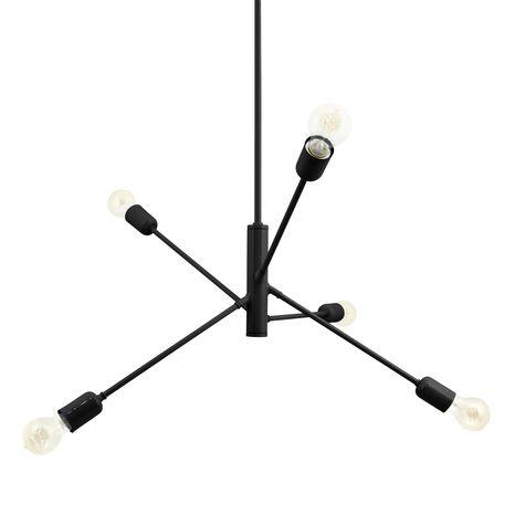 The Downtown Minimalist 5-Light Chandelier, 100-Black, Edison-Style Victorian Bulbs