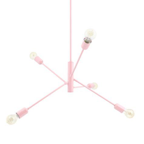 The Downtown Minimalist 5-Light Chandelier, 480-Blush Pink, Edison-Style Victorian Bulbs