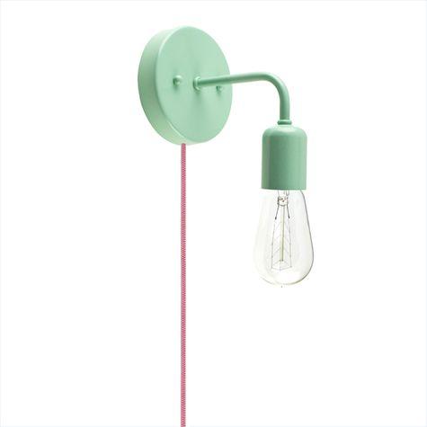 Downtown Minimalist Plug-In Sconce, 311-Jadite PTMP, CRZ-Red Chevron Cord, 1890 Era 40w Edison-Style Bulb