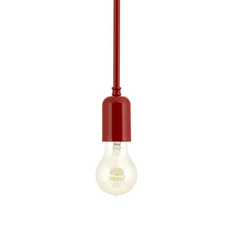 The Downtown Minimalist Stem Mount Pendant, 400-Barn Red, Edison-Style Victorian Bulb