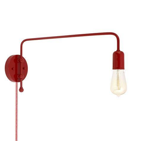 Downtown Swing Arm Sconce, 400-Barn Red, G68 Arm, Nostalgic Edison Style 1890 Era Bulb, CSRW-Red & White Cloth Cord