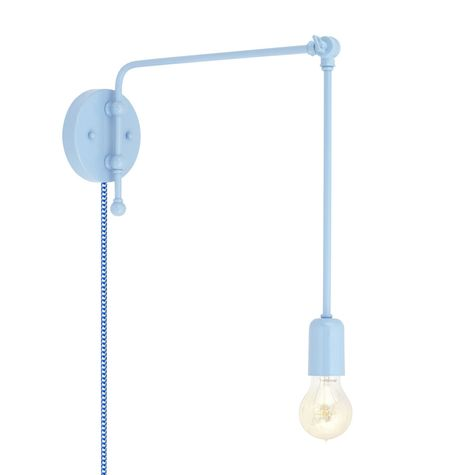 Downtown Swing Arm Sconce, 715-Delphite PTMP, G67 Arm, Downtown Swing Arm Sconce, 311-Jadite, G66 Arm, Nostalgic Edison Style 1890 Era Bulb, CSUW-Blue & White Cloth Cord
