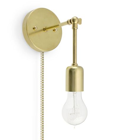 The Downtown Minimalist Knuckled Plug-In Sconce, 997-Raw Brass, CSGW-Gold & White Cloth Cord, Nostalgic Edison-Style Victorian 25W Bulb