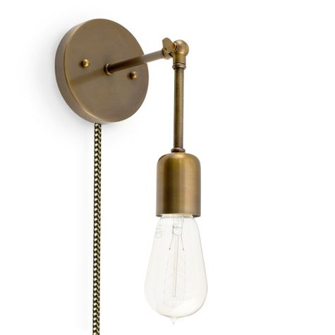 The Downtown Minimalist Knuckled Plug-In Sconce, 998-Weathered Brass, CSBG-Black & Gold Cloth Cord, Nostalgic Edison-Style 1890 Era 40W Bulb