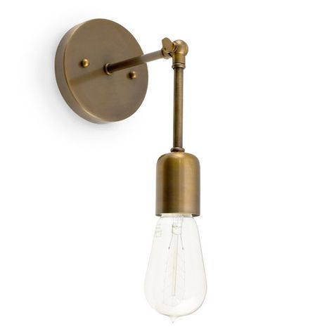 The Downtown Minimalist Knuckled Sconce, 998-Weathered Brass, Nostalgic Edison-Style 1890 Era 40W Bulb