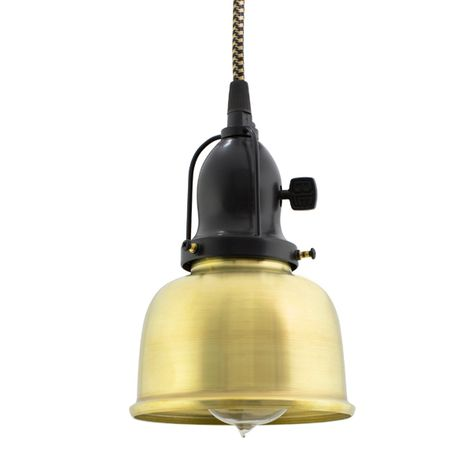 Fargo Pendant, 997-Raw Brass, Cup in 100-Black, With Arms, Paddle Switch, CSBG-Black & Gold Cloth Cord