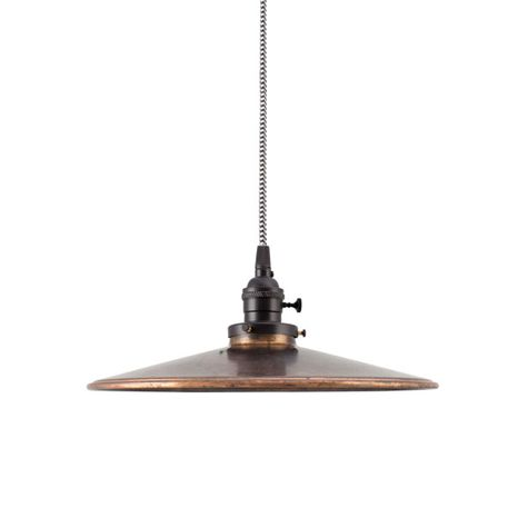 """12"""" Circle B Industrial Pendant, 999-Oil-Rubbed Copper, UK-Black Socket with Knob Switch, CSBW-Black & White Cloth Cord"""
