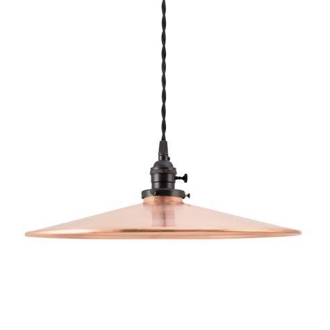 "15"" Circle B Industrial Pendant, 995-Raw Copper, UK-Black Socket with Knob Switch, TBW-Black Cotton Twist Cord"